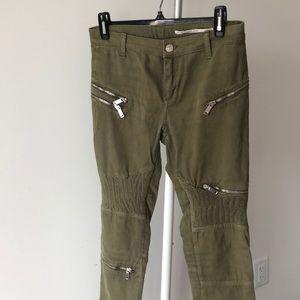 Zara army green Moto pants size 4